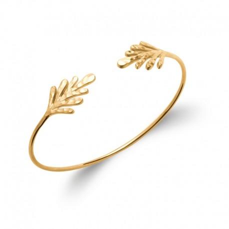 Bangle bracelet, hammered leaves and gold plated - JUNGLE