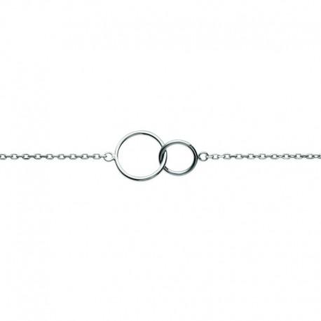 Two interlaced silver 925 circles bracelet - DEESSE