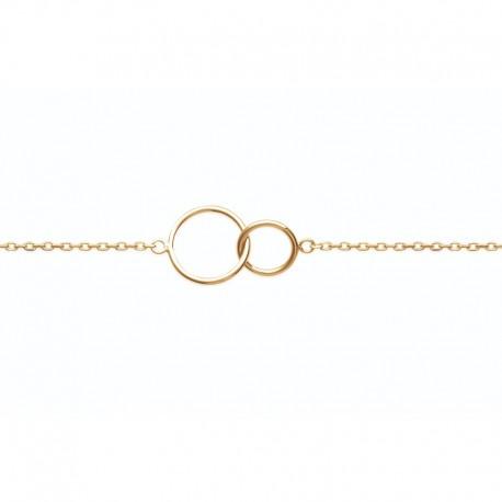 Bracelet deux cercles entrelacés plaqué or - DÉESSE