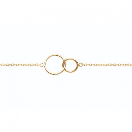 Two interlaced gold plated circles bracelet - DEESSE