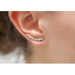 Boucles d'oreilles cercle en argent 925 avec zircons incrustés - DÉESSE