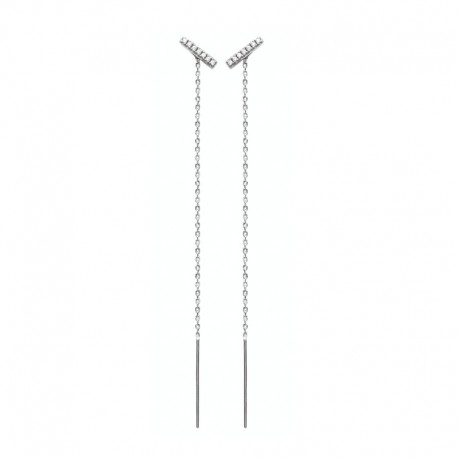 Zircon bar earrings and pendant chain in 925 silver