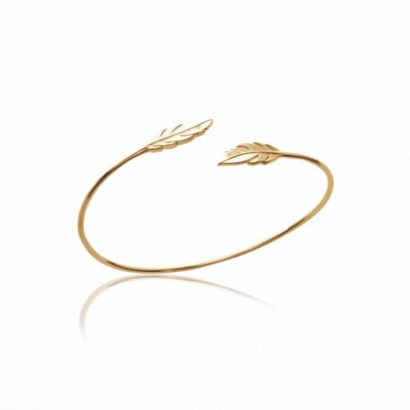 Bracelet plume jonc fin plaqué or - L'INDIENNE