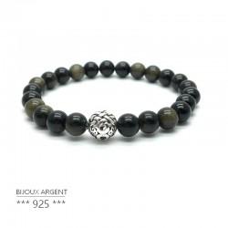 Bracelet en pierres naturelles obsidienne dorée avec perle en argent 925 sculptée.