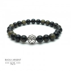 golden obsidian natural gemstone bracelet with carved 925 silver bead