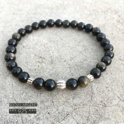 Bracelet 6mm en pierres naturelles d'obsidienne dorées avec perles en argent 925