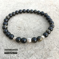 Bracelet 6mm natural gemstone of golden obsidian with beads in silver 925
