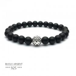 Bracelet en pierres naturelles, onyx noir mat avec perle en argent 925 sculptée.