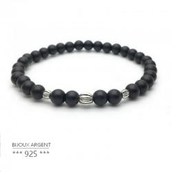 Bracelet 6mm en pierres naturelles, onyx noir avec perles en argent 925