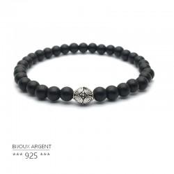 Bracelet 6mm en pierres naturelles, onyx noir avec perle en argent 925