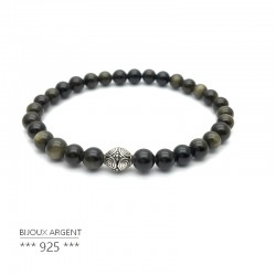 Bracelet 6mm en pierres naturelles d'obsidienne dorées avec perle en argent 925