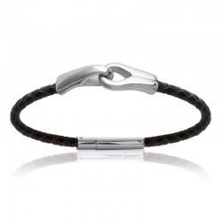 Black braided leather man bracelet with steel handcuffs