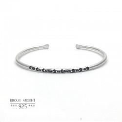 Jonc fin en Argent 925 - Bracelet motif poisson- Bijou homme