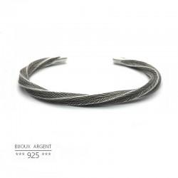 Bracelet demi jonc épais et torsadé vintage en Argent 925 - Bijou homme