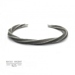 Silver 925 vintage thick twisted bangle bracelet - Men's jewelery