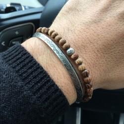 Pack de bracelets Homme, 1 Jonc métal + 1 bracelet mauvais œil en argent et bois de palmier, porte bonheur