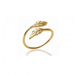 Ring with two feathers gold plated - L'INDIENNE