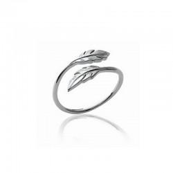 Bague anneau et deux plumes argent 925 - L'INDIENNE