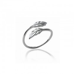 Ring with two feathers silver 925 - L'INDIENNE