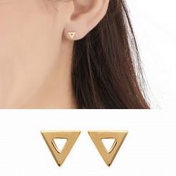 Boucles d'oreilles puces triangles ajourés plaqué or