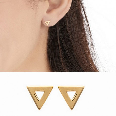 gold plated openwork triangles stud earrings