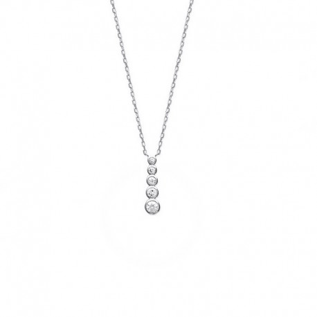 925 silver necklace with zirconia waterfall pendant, CZ - DEESSE