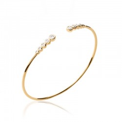 Bangle bracelet gold plated and zirconium, CZ - DÉESSE