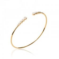 Bracelet jonc plaqué or et zirconium, CZ - DÉESSE