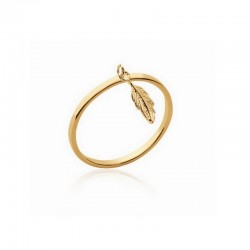 circle ring and tiny gold plated feather pendant - L'INDIENNE