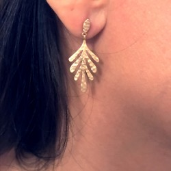 pendant earrings, hammered leaves and gold plated - JUNGLE