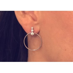 925 silver circle earrings with inlaid zircons - DÉESSE
