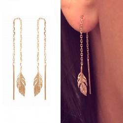 Boucles d'oreilles longues pendantes plume plaqué or - L'INDIENNE