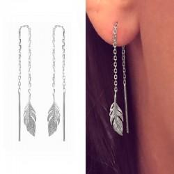 Boucles d'oreilles longues pendantes plume argent 925 - L'INDIENNE