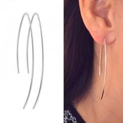 Boucles d'oreilles traversante argent 925, BO longues, pendantes