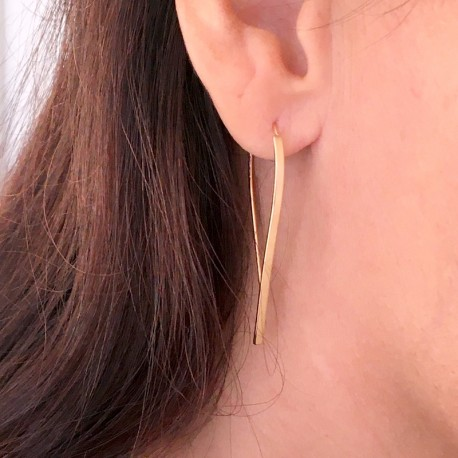 wide gold plated earrings pull through ears, dangling, tiny earrings