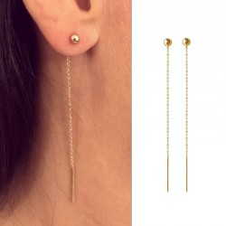 chain gold plated earrings pull through ears, dangling, studs earrings