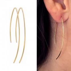 Boucles d'oreilles fines traversantes plaqué or, BO longues, pendantes