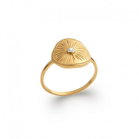 Gold plated zircon water lily ring - BAZAR CHIC