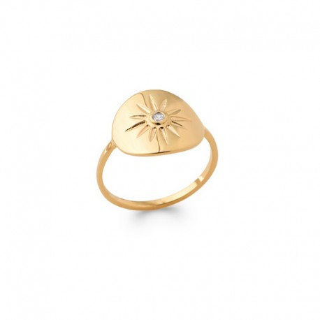 Gold plated and zircon sun ring - BAZAR CHIC - Solar, celestial, star ring, dainty ring