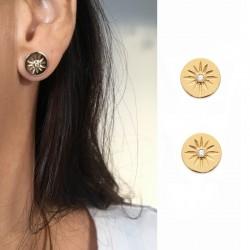 Boucles d'oreilles soleil plaqué or et zircon - BAZAR CHIC - Rondes, Solaire, céleste, étoile