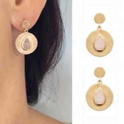 Boucles d'oreilles plaqué or, ronde, striée, empierré quartz rose - BAZAR CHIC - Lithothérapie, pierres naturelles, chic
