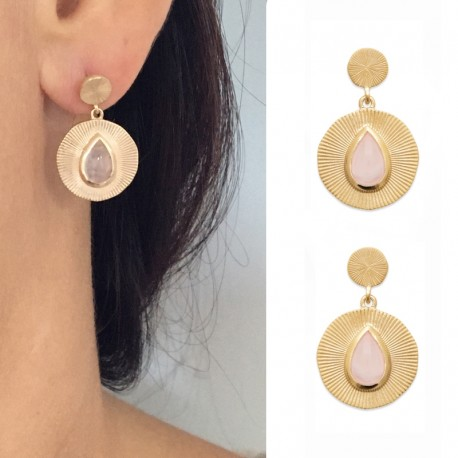 Gold plated earrings, round, ribbed, stony rose quartz - BAZAR CHIC - Lithotherapy, natural stones, chic