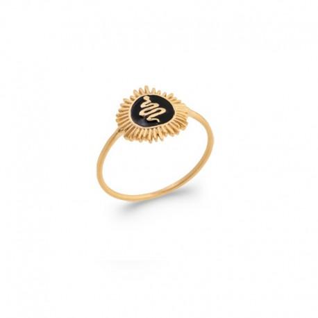 Gold plated sunbeam / snake ring in relief on black enamel - SNAKE -