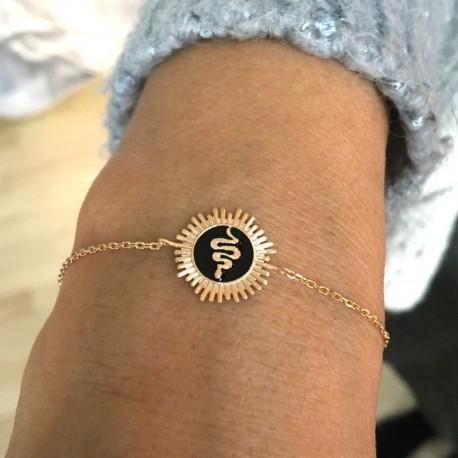 Gold plated bracelet sunbeam / snake in relief on black enamel - SNAKE -