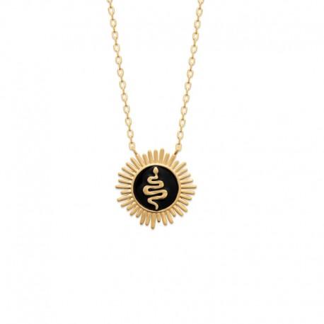 Collier plaqué or rayon de soleil / médaillon serpent en relief sur émail noir - SNAKE -