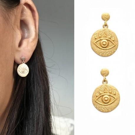 Gold plated earrings, lucky charm, evil eye - NAZAR - Matt gold finish