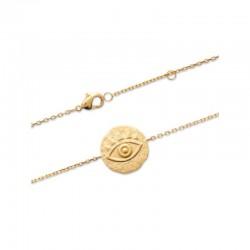 Bracelet plaqué or, porte bonheur mauvais œil - NAZAR - Finition or mat