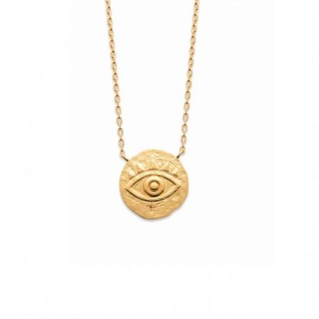 Gold plated necklace, lucky charm, evil eye - NAZAR - Matt gold finish