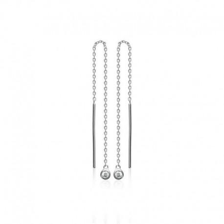 chain 925 silver and zircon earrings pull through ears, dangling, studs earrings