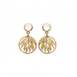Boucles d'oreilles pendantes plaqué or, palme et nacre - JUNGLE - Motif feuille de palmier